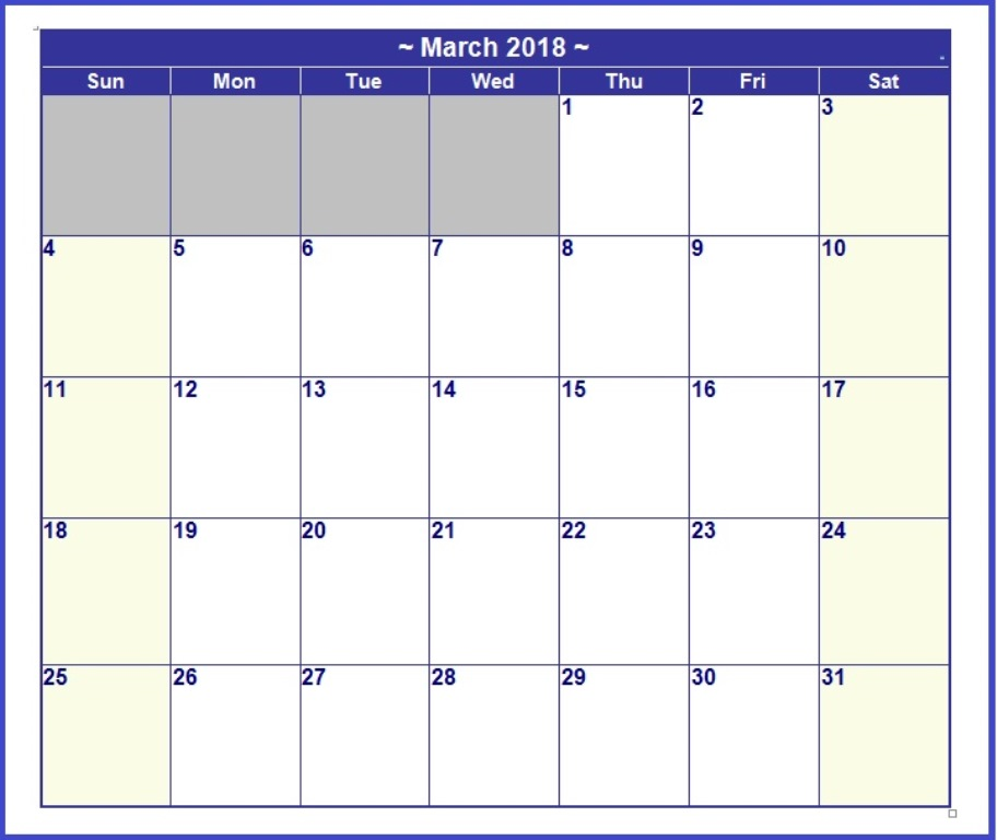 March Calendar 2018 Monthly