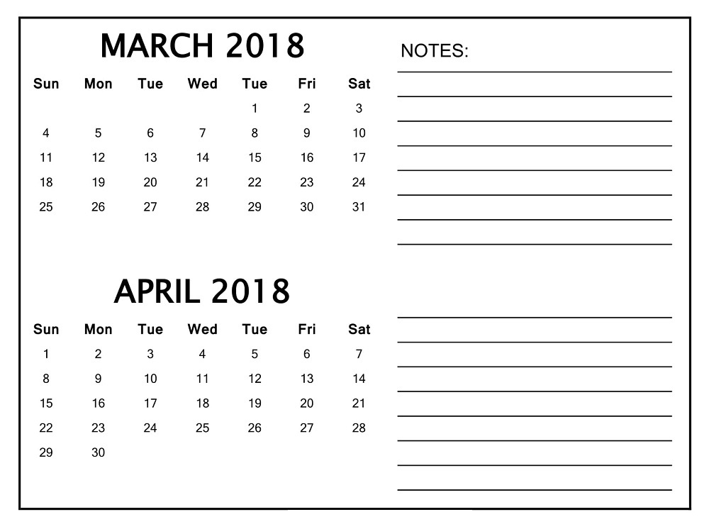 March and April 2018 Calendar