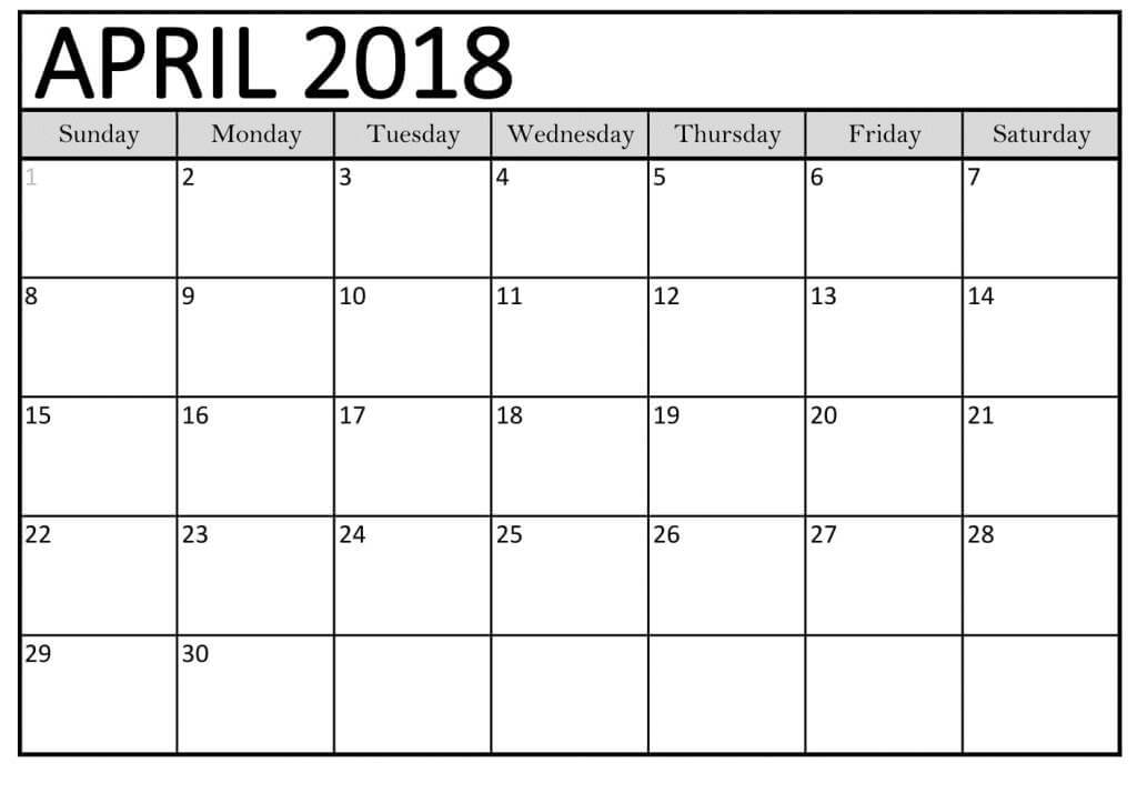 Monthly April 2018 Calendar