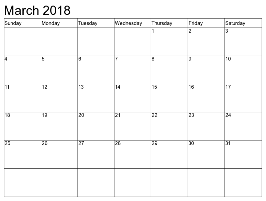 Monthly Calendar 2018 March