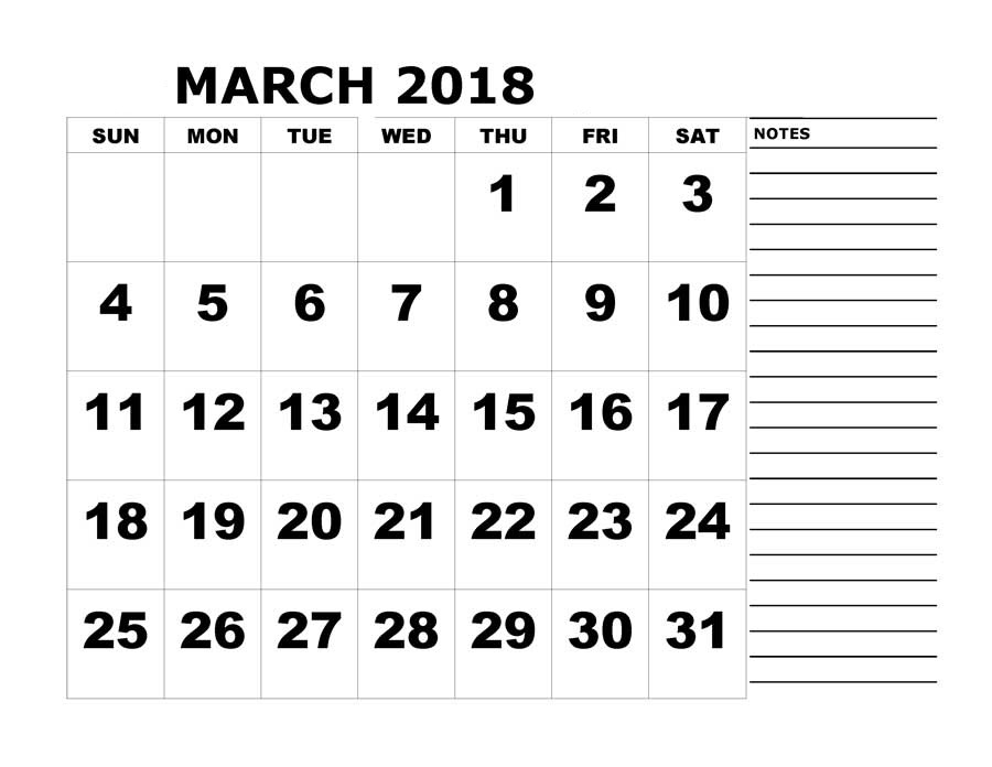 Monthly March 2018 Blank Calendar