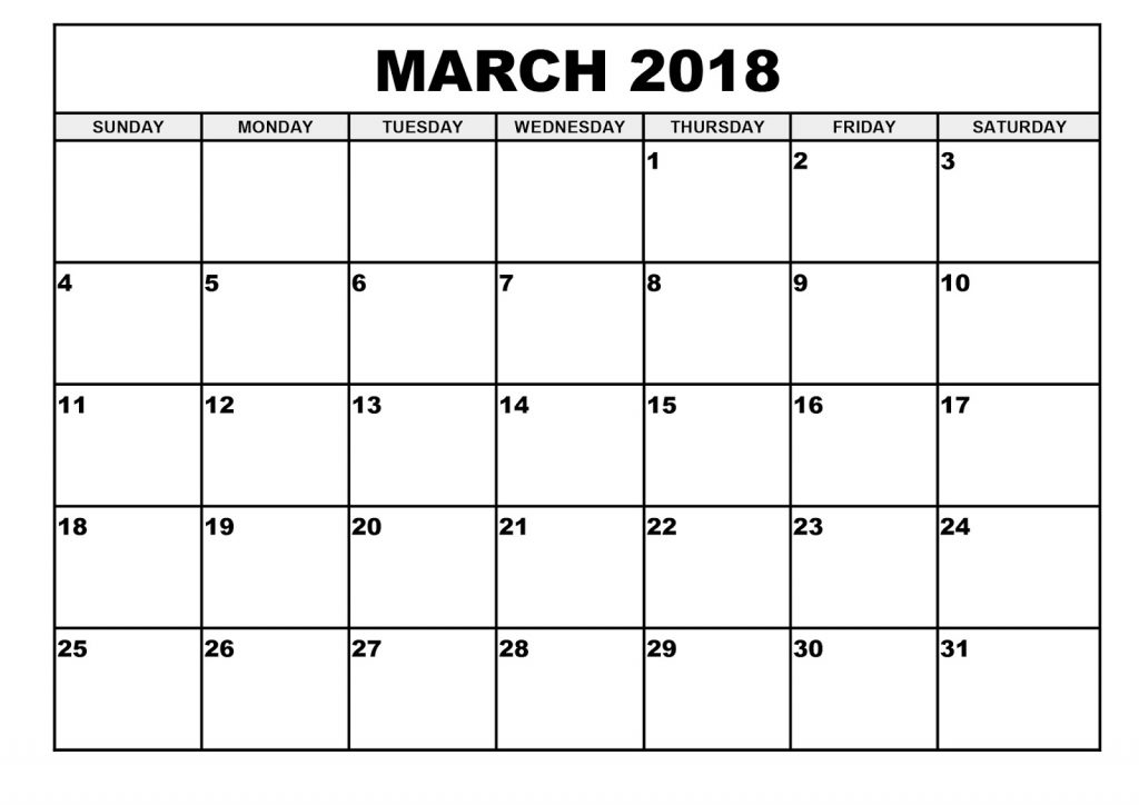 Monthly March 2018 Calendar Template