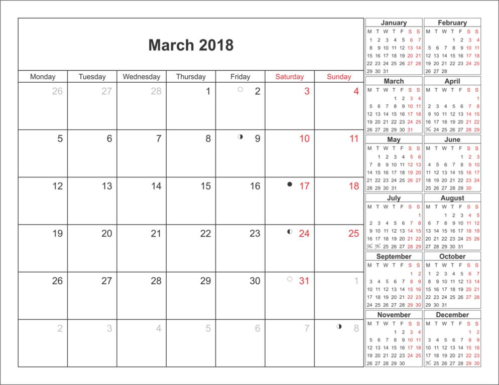 Monthly March 2018 Calendar