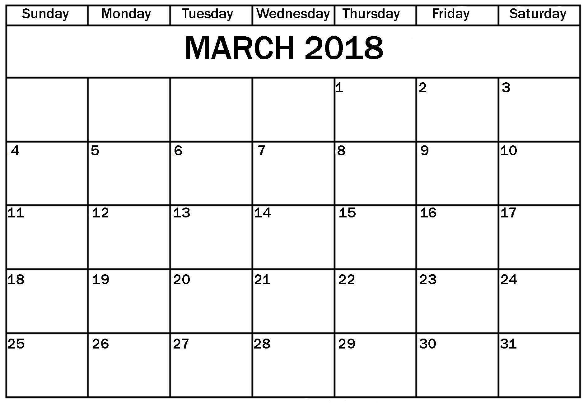 Monthly March 2018 Printable Calendar