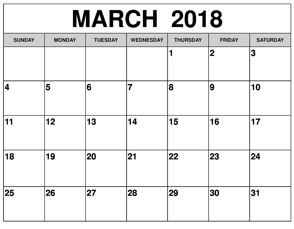Monthly March Calendar 2018