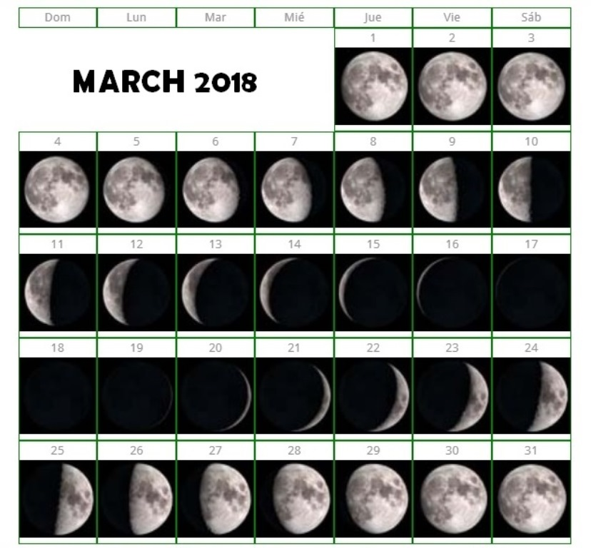 Moon Calendar March 2018 Printable