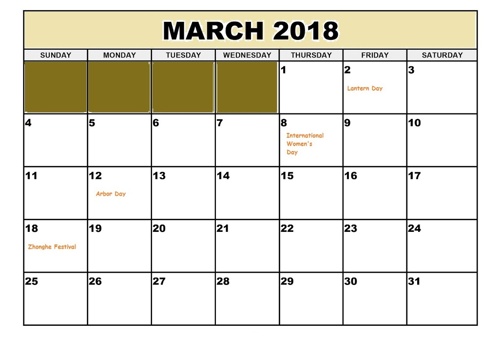 Online March 2018 Calendar With Holidays