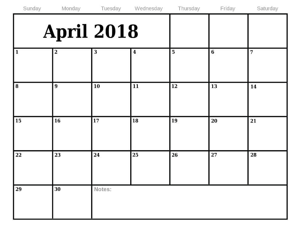 Printable Calendar For April 2018