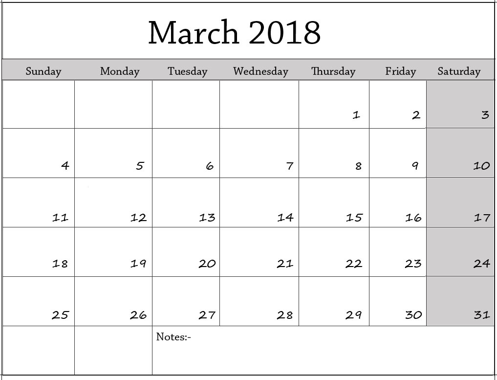 Printable Calendar March 2018 Excel