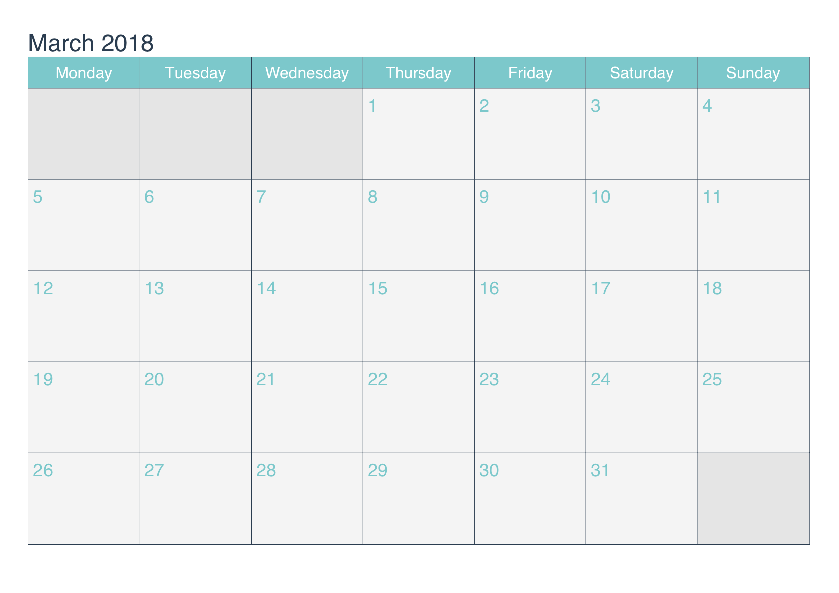 Printable Calendar March 2018 Template
