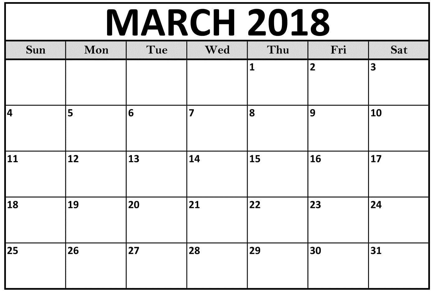 Printable Calendar March 2018 With Notes