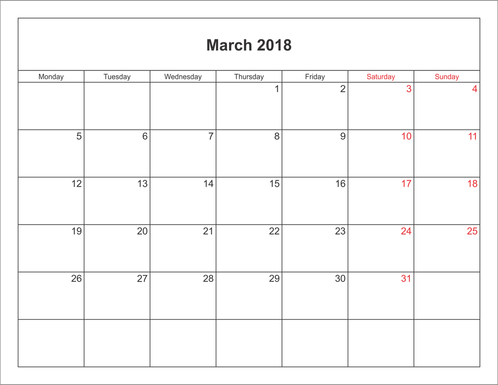 Printable Calendar March 2018 Word