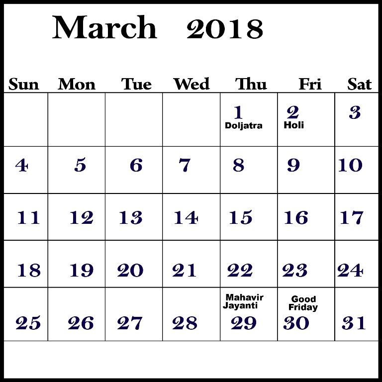 Save March 2018 Calendar With Holidays