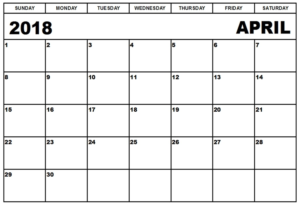 2018 April Calendar Download