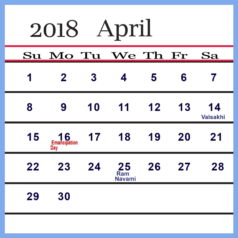 2018 April Calendar With Holidays USA, UK, Canada