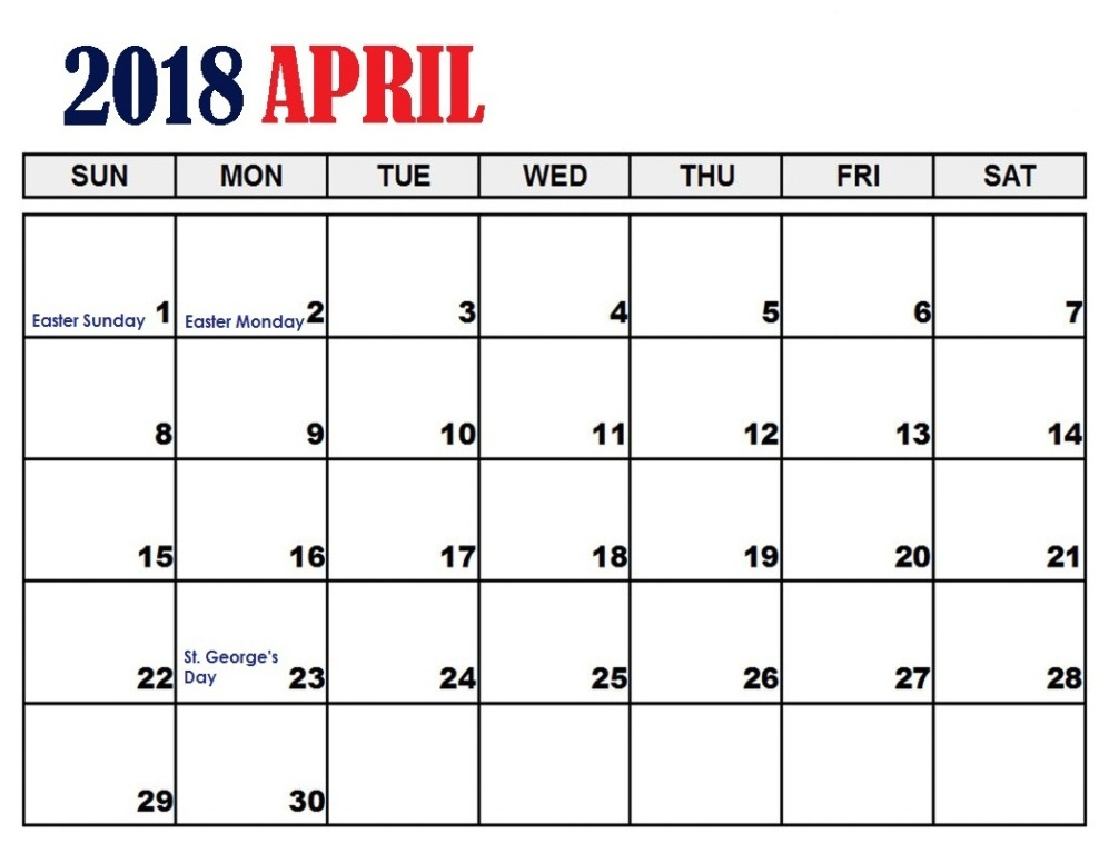2018 April Calendar With Holidays
