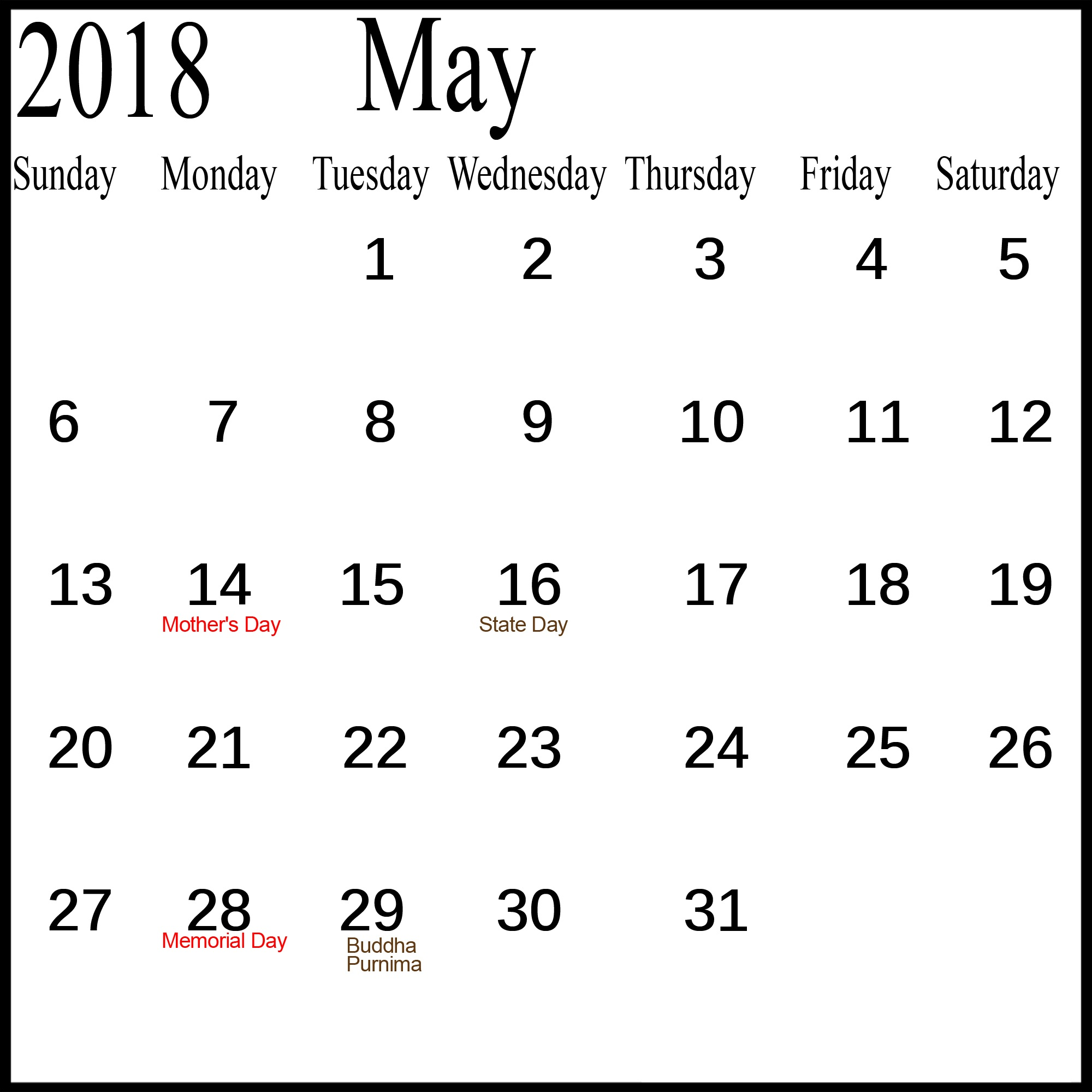 2018 May Calendar With Holidays