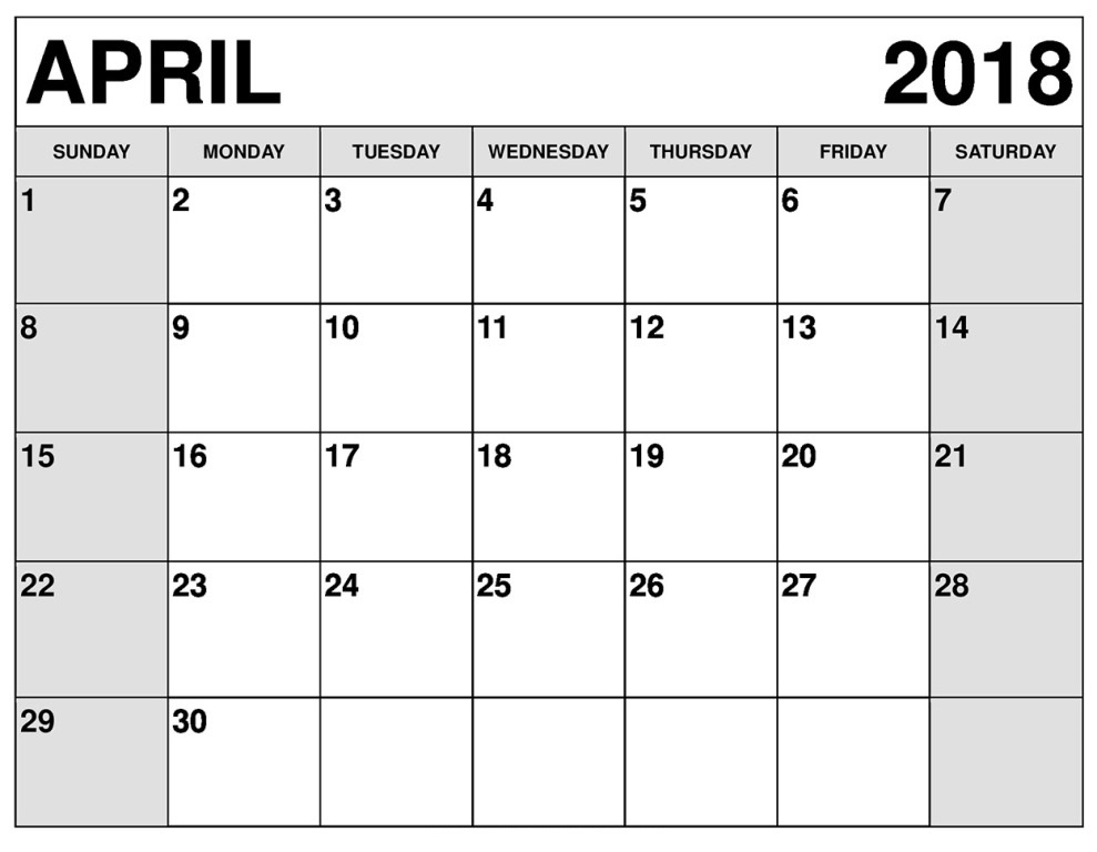April 2018 Calendar Monthly