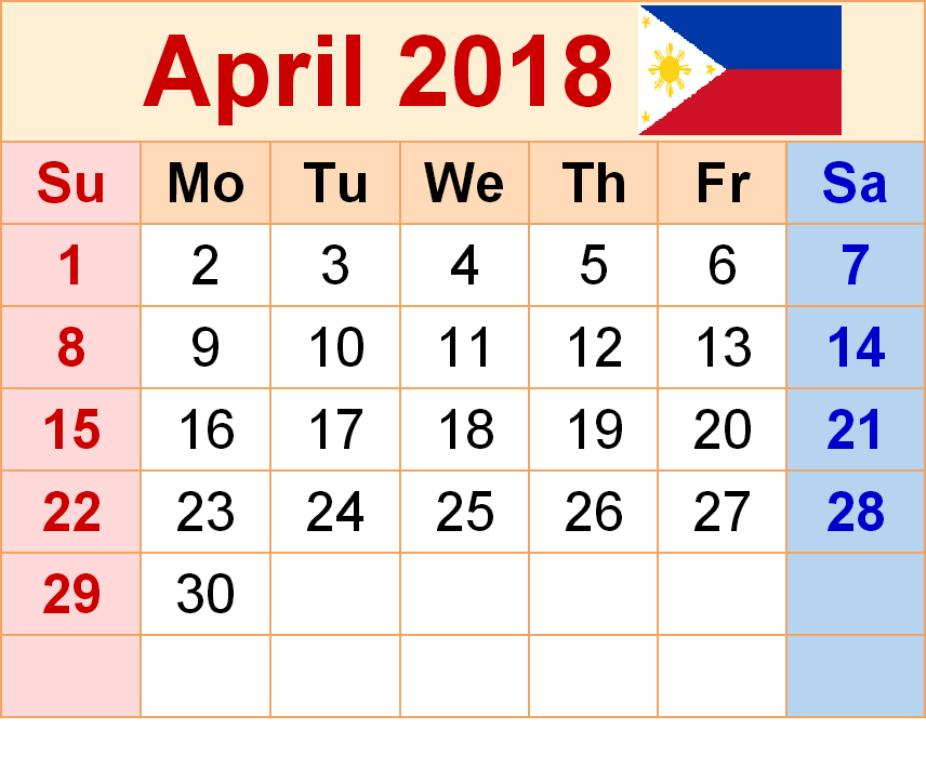 April 2018 Calendar Philippines