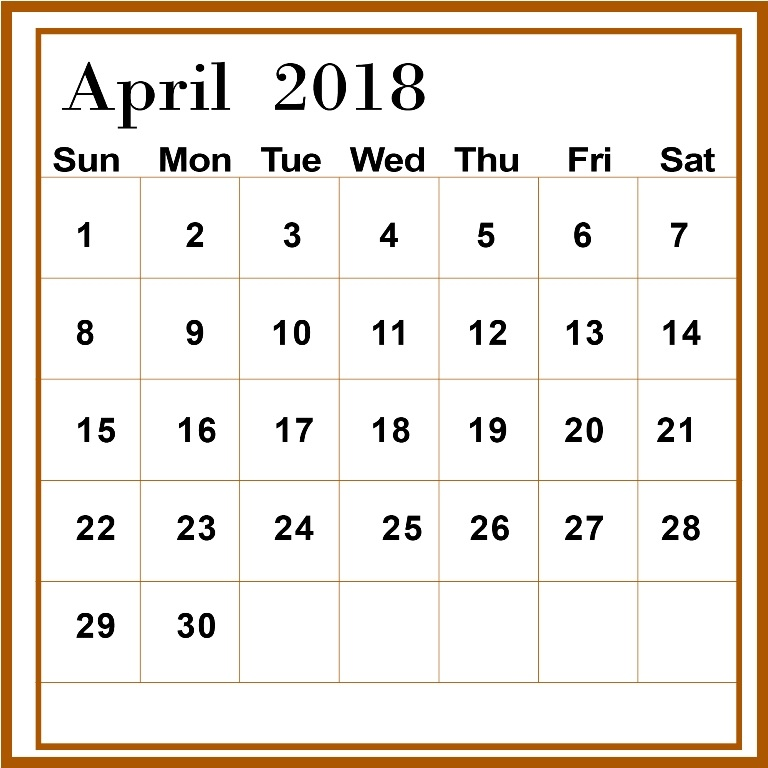 April 2018 Calendar Template Download