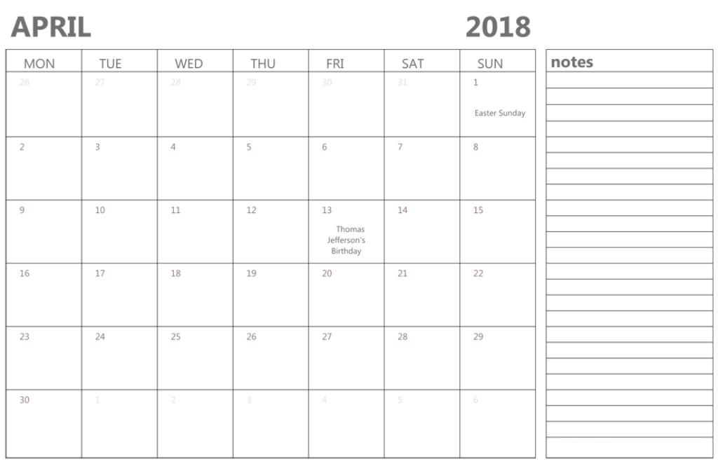 April 2018 Calendar Template With Holidays