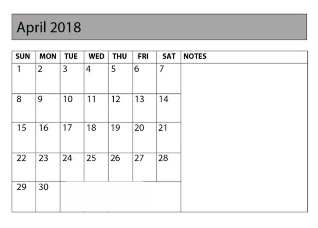 April 2018 Calendar Template With Notes