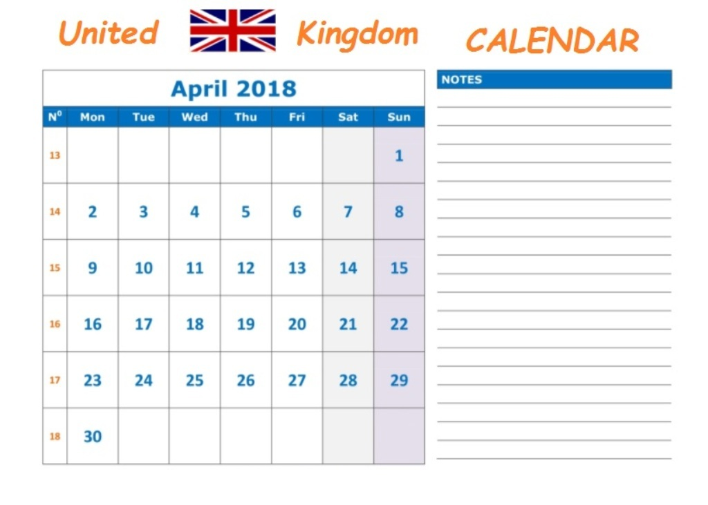 April 2018 Calendar UK Notes