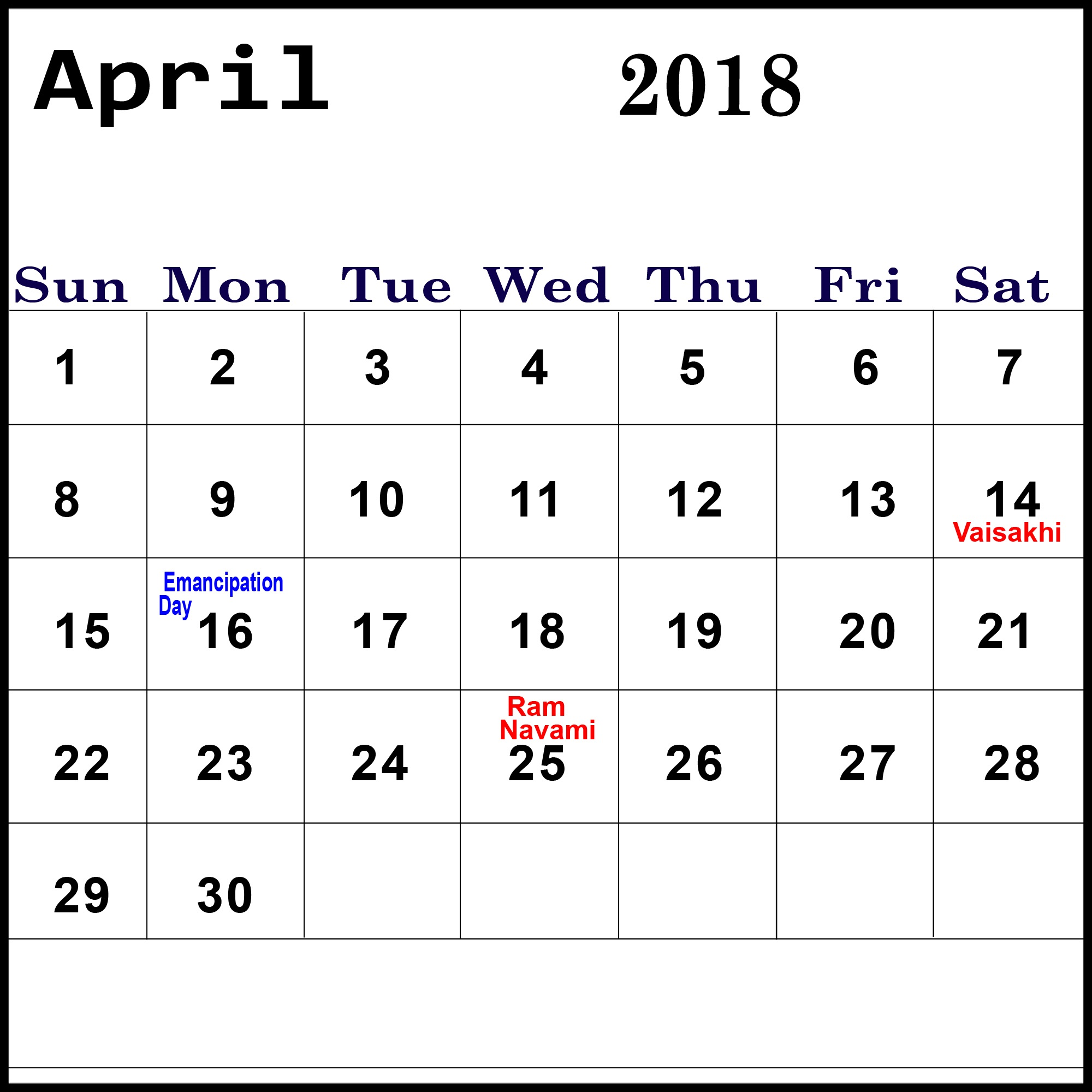 April 2018 Calendar With Holidays Bank and Public