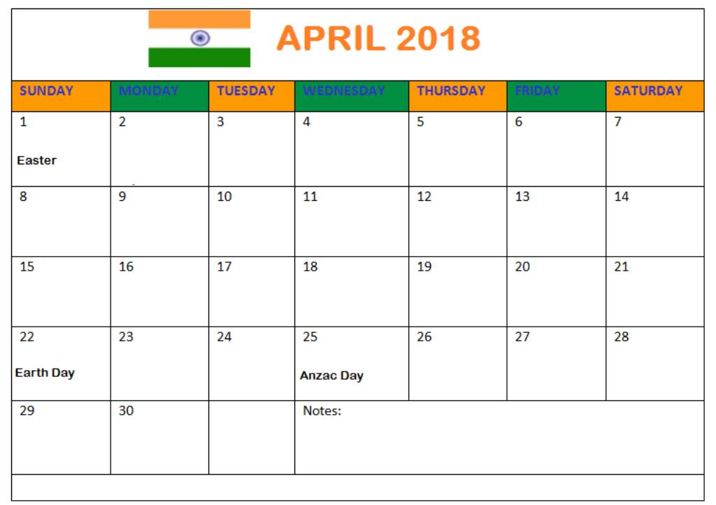 April 2018 Calendar With Holidays India
