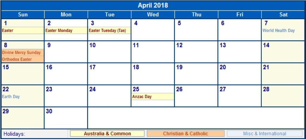 April 2018 Calendar With Holidays Pdf