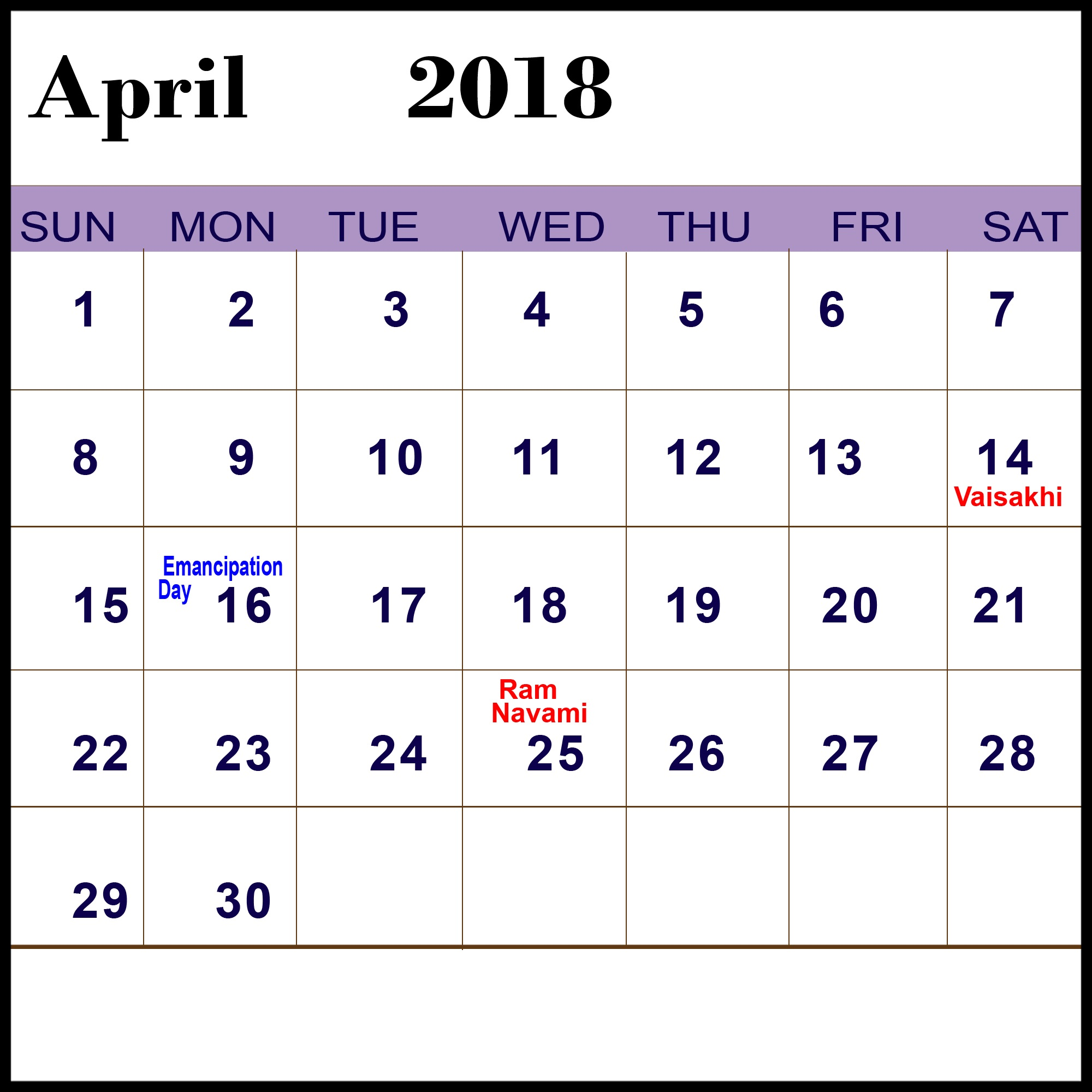 April 2018 Calendar With Holidays Printable Pdf