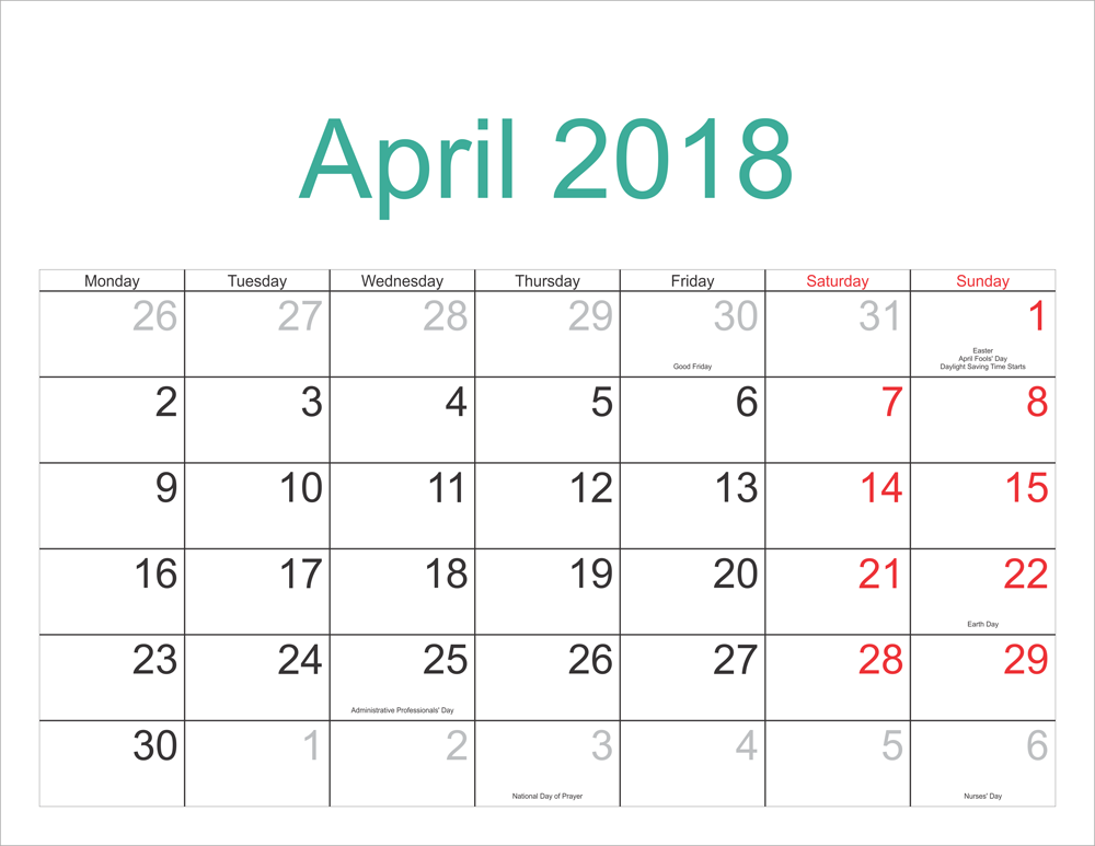 April 2018 Calendar With Holidays USA