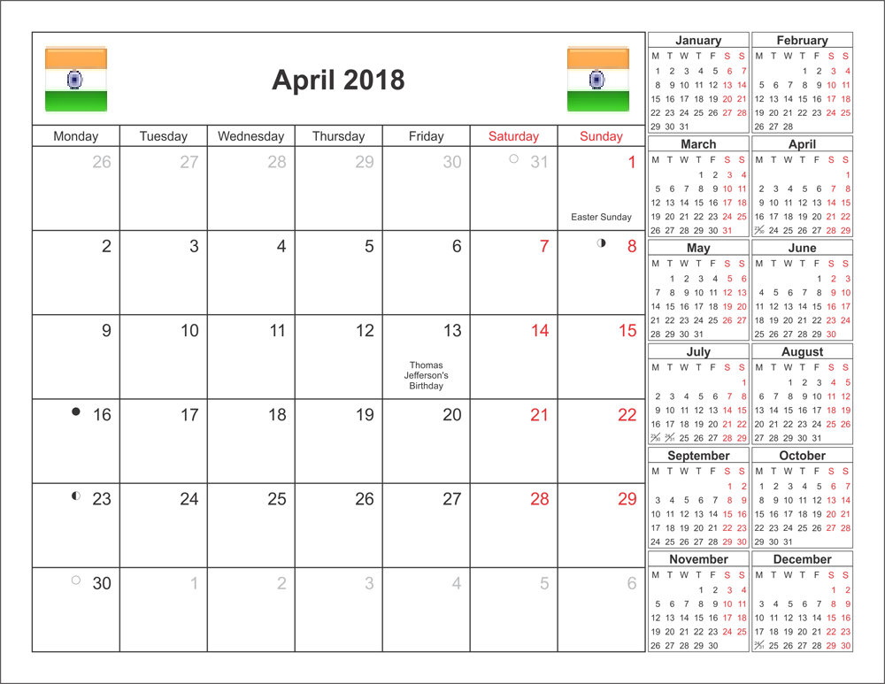 April 2018 Calendar With Indian Holidays