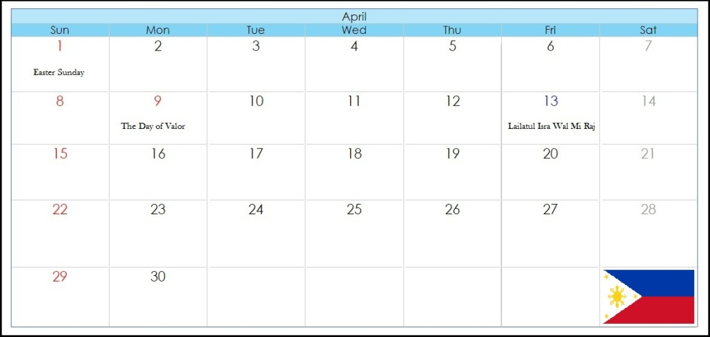 April 2018 Calendar With Philippines Holidyas