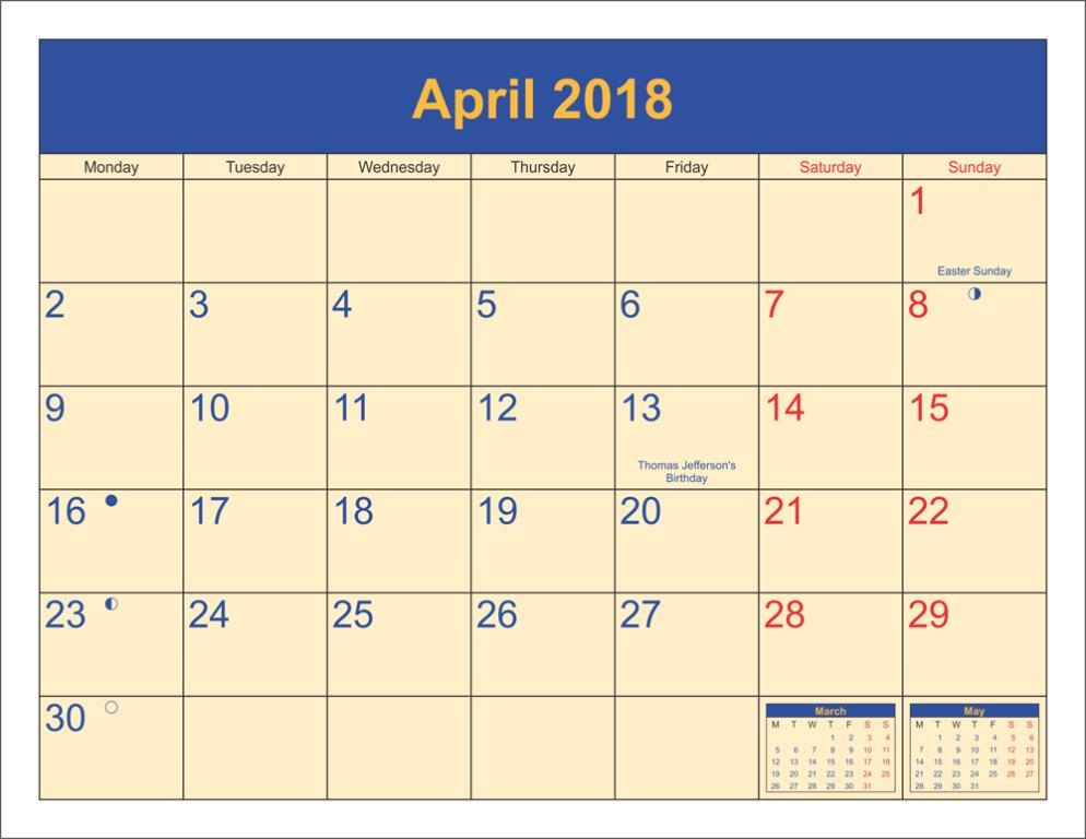 April 2018 Pdf Calendar With Holidays