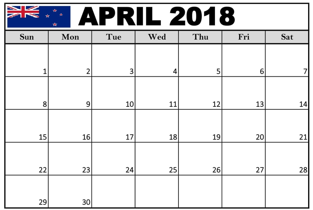 April 2018 Printable Calendar Nz