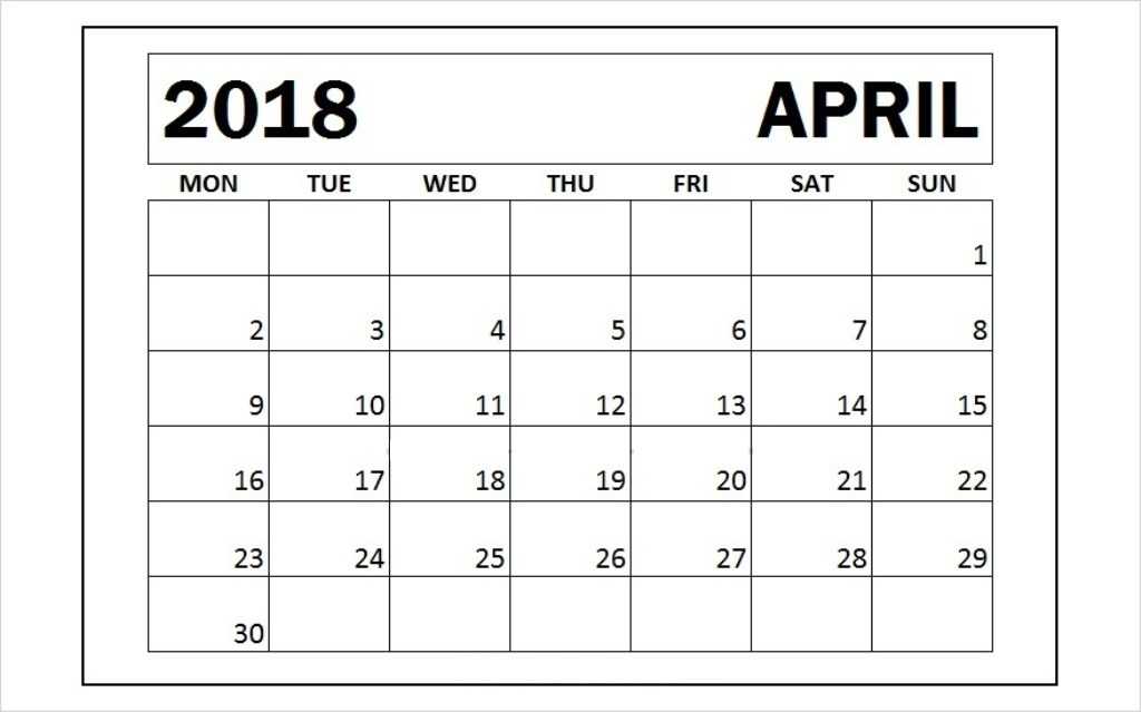 April 2018 Printable Calendar Pdf Free Monthly Template Monthly