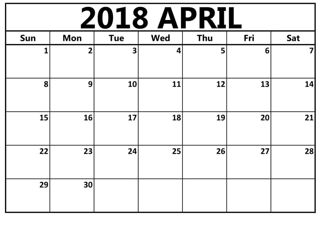 April 2018 Printable Calendar Template