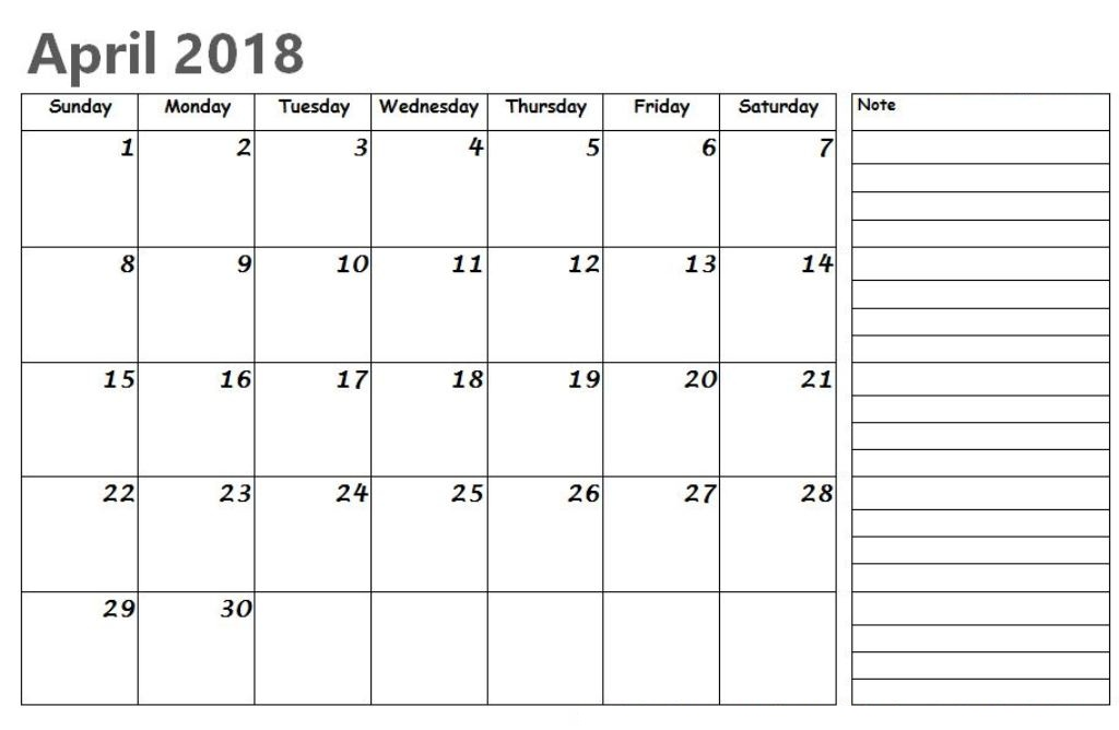 April 2018 Printable Calendar With Notes