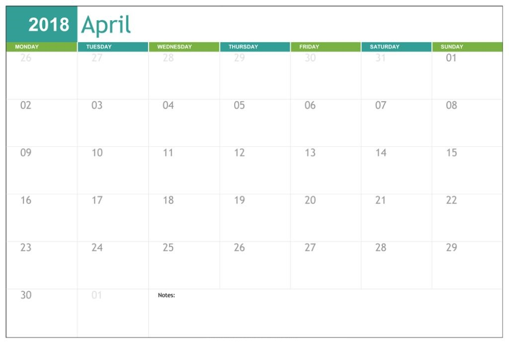 April Calendar 2018 Template Printable