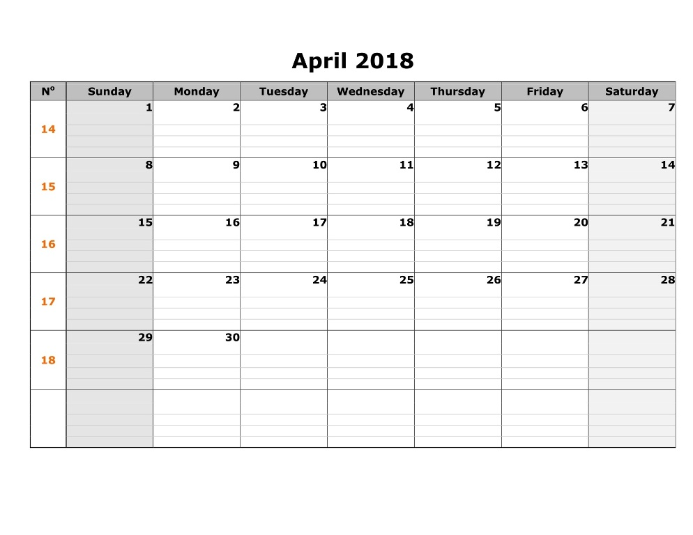 April  Calendar Template Word Pdf Excel Format