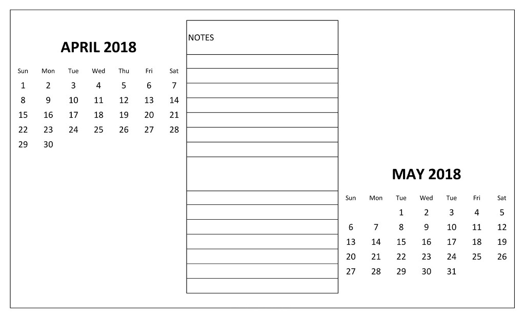 April May 2018 Calendar Download