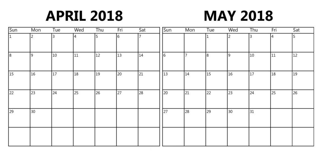 April May 2018 Calendar Printable Template