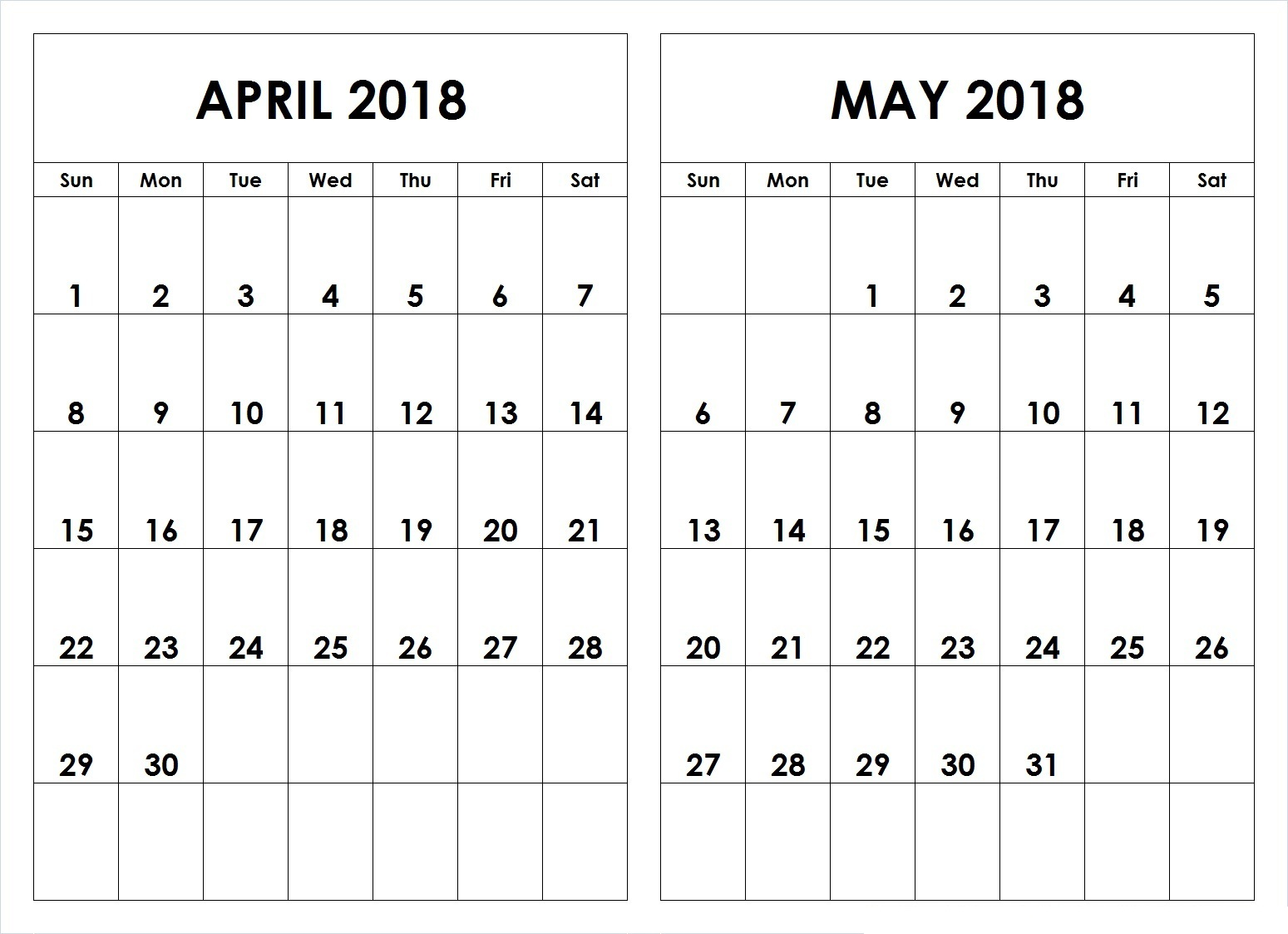 April May 2018 Calendar Printable