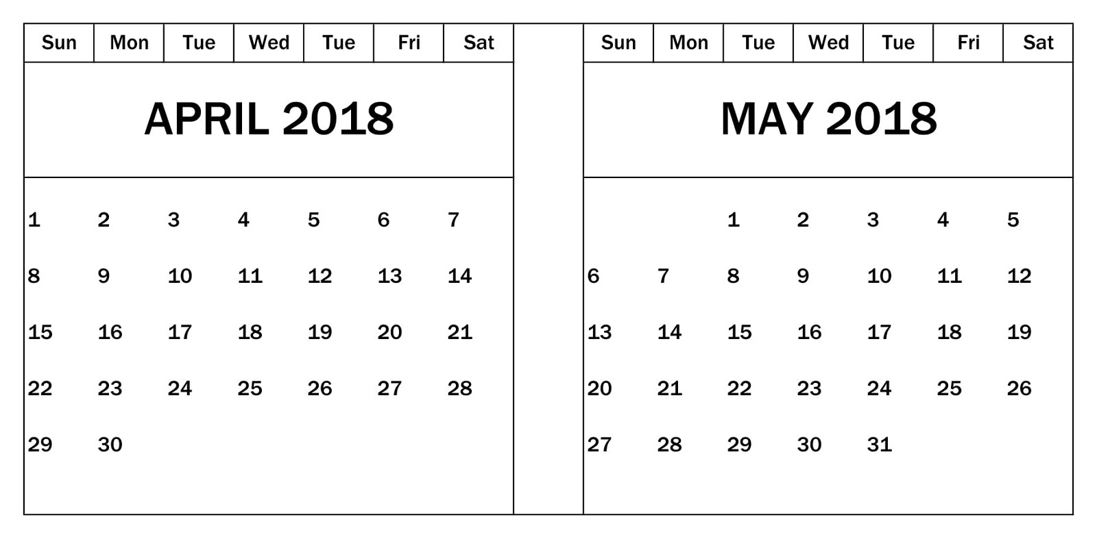 April May 2018 Calendar Template