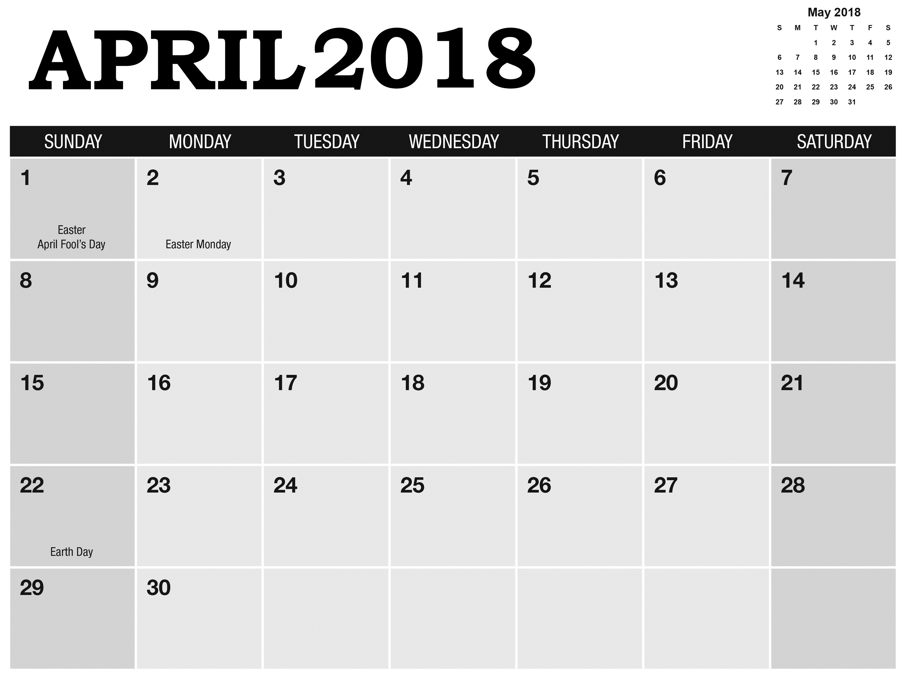April May 2018 Calendar With Holidays