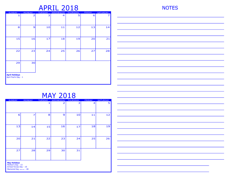 April May Calendar 2018 With Notes