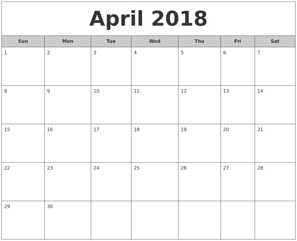 April Month Printable Calendar 2018