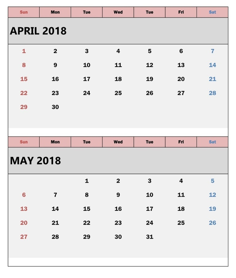 April and May 2018 Calendar