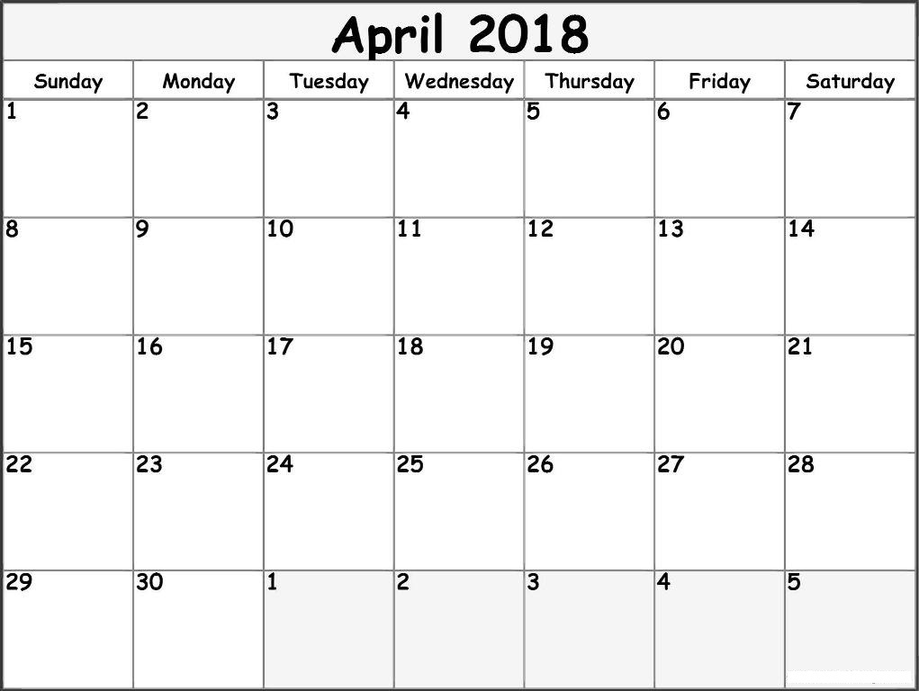 Blank Calendar April  Printable Template Download